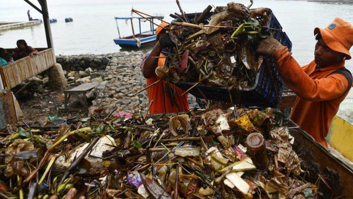 Sampah Berlumur Minyak di Pulau Pari